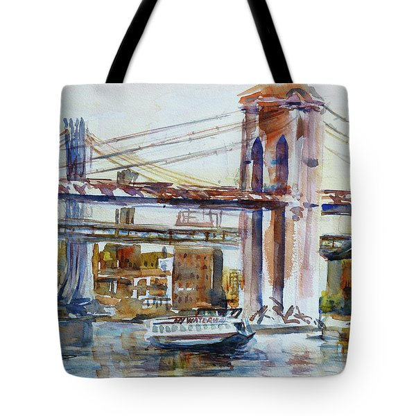 Tote Bag featuring the painting Downtown Bridge by Xueling Zou