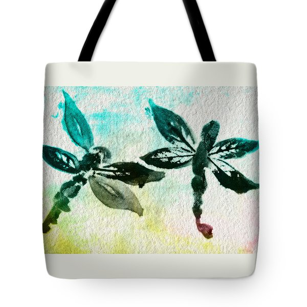Tote Bag featuring the digital art 2 Dragonflies Abstract by Frank Bright