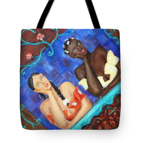Tote Bag featuring the painting Dreaming Girls by Xueling Zou