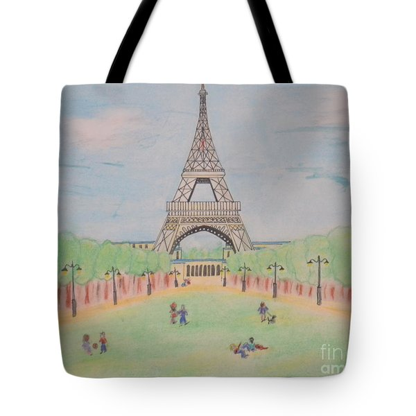 Tote Bag featuring the pastel Eiffel Tower by Denise Tomasura