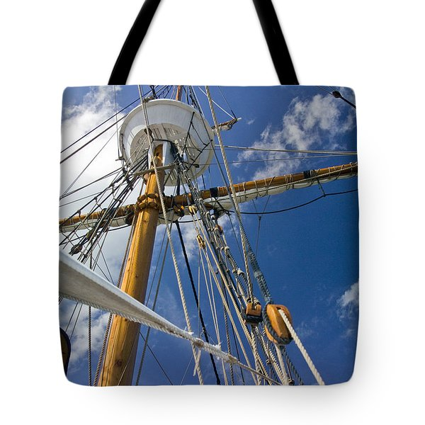 Tote Bag featuring the photograph Elizabeth II Mast Rigging by Greg Reed