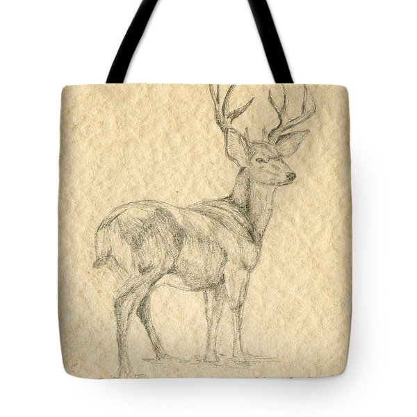 Tote Bag featuring the drawing Elk by Mary Ellen Anderson
