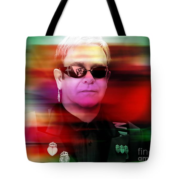 Elton John Tote Bag by Marvin Blaine