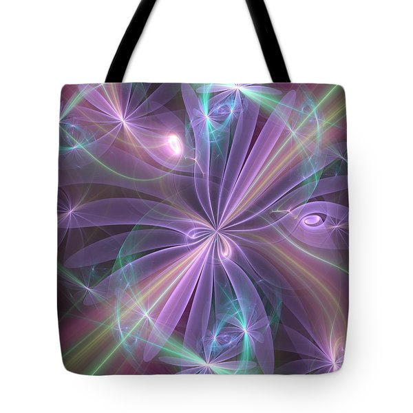 Tote Bag featuring the digital art Ethereal Flower In Violet by Svetlana Nikolova