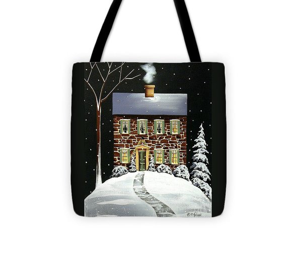 Evergreen Cottage Tote Bag by Catherine Holman