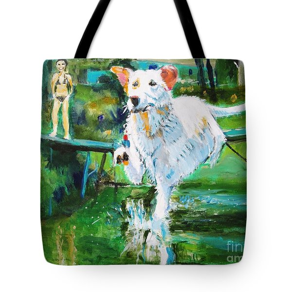 Tote Bag featuring the painting Fetching by Judy Kay