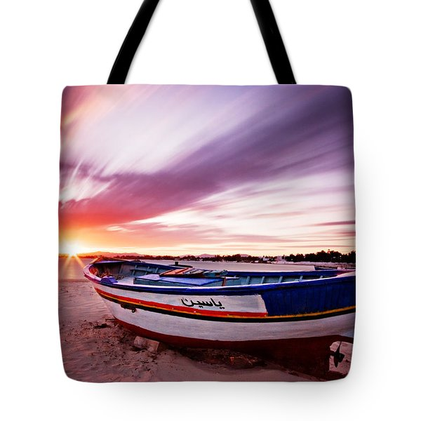 Fishing Boat At Sunset / Tunisia Tote Bag