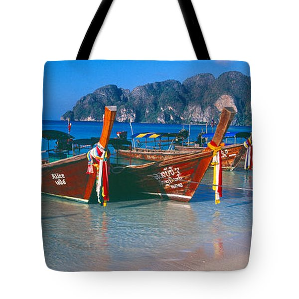 Fishing Boats In The Sea, Phi Phi Tote Bag