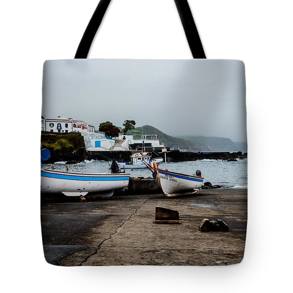Fishing Boats On Wharf With View Of Houses  Tote Bag
