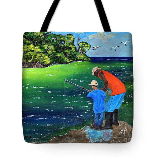 Tote Bag featuring the painting Fishing Buddies by Laura Forde