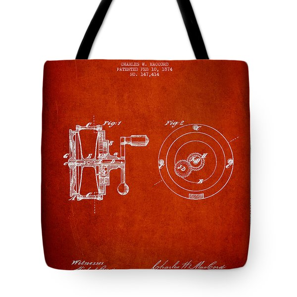 Fishing Reel Patent From 1874 Tote Bag by Aged Pixel