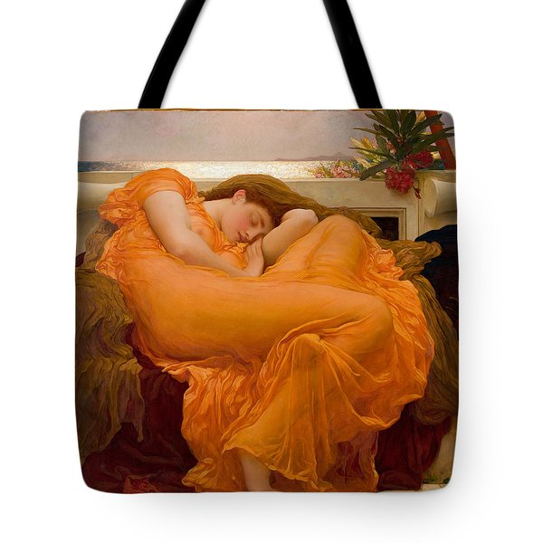 Tote Bag featuring the painting Flaming June by Frederick Leighton