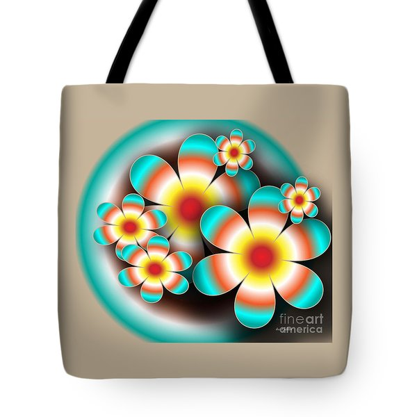 Tote Bag featuring the digital art Floral Target by Iris Gelbart