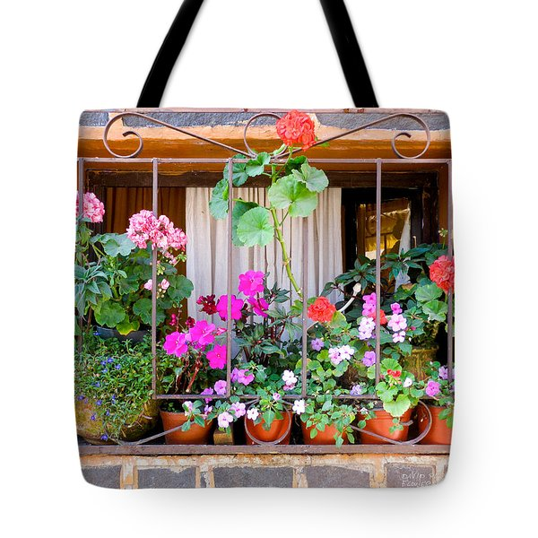 Tote Bag featuring the photograph Flowers In A Mexican Window by David Perry Lawrence