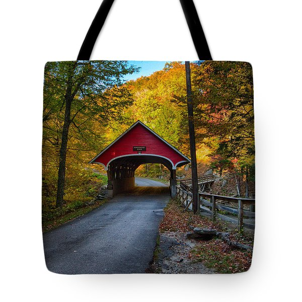 Flume Gorge Covered Bridge Tote Bag
