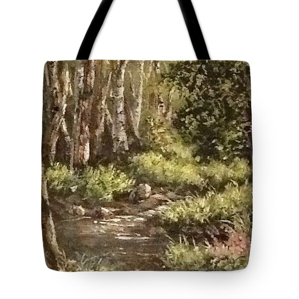 Tote Bag featuring the painting Forest Stream by Megan Walsh