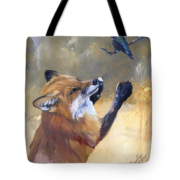 Fox Dances For Hummingbird Tote Bag