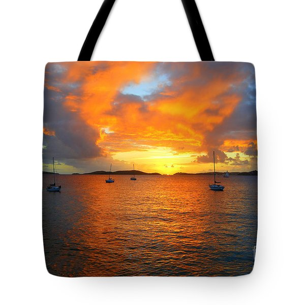 Frank Bay St. John U. S. Virgin Islands Sunset Tote Bag by Catherine Sherman