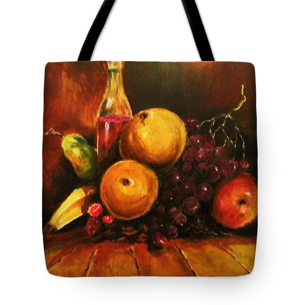 Tote Bag featuring the painting Fruit And Wine by Al Brown