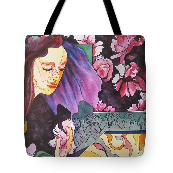 Tote Bag featuring the painting Garden Secrets by Diana Bursztein