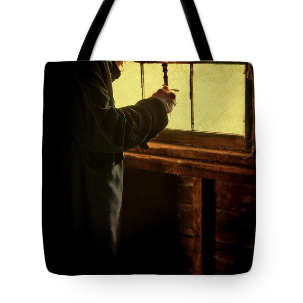Gentleman In 18th Century Clothing With A Candle Tote Bag by Jill Battaglia