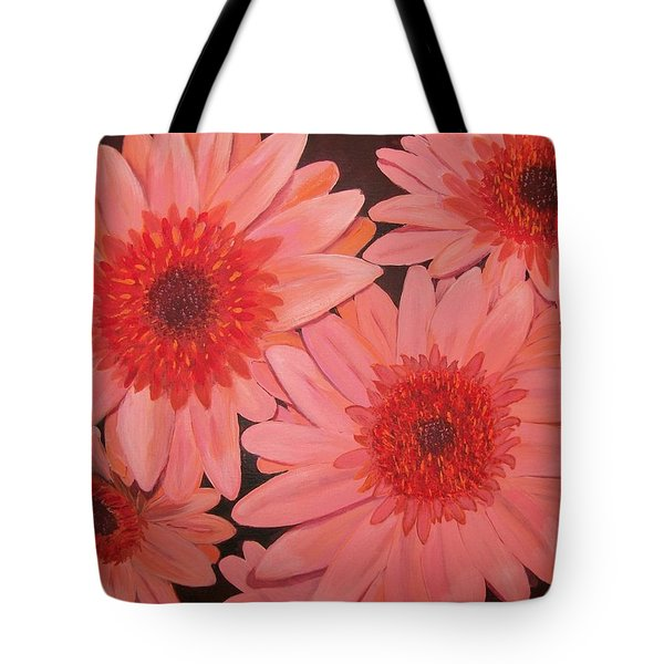 Tote Bag featuring the painting Gerber Daisies by Sharon Duguay