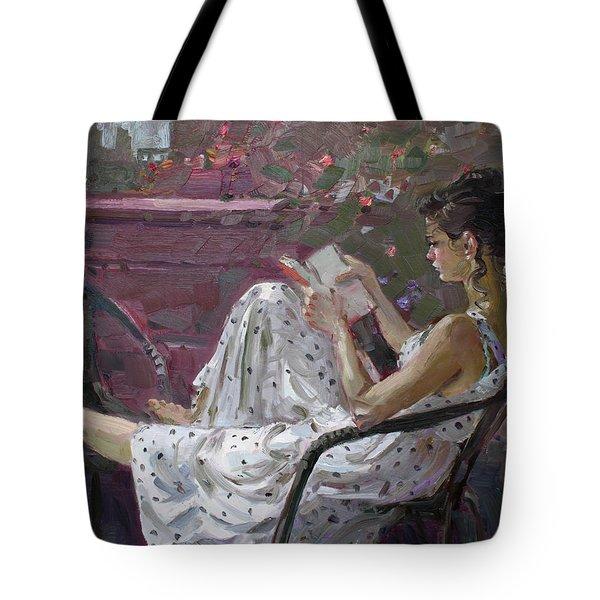 Girl Reading Tote Bag by Ylli Haruni