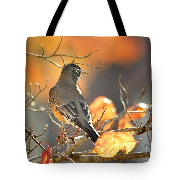 Tote Bag featuring the photograph Glowing Robin by Nava Thompson