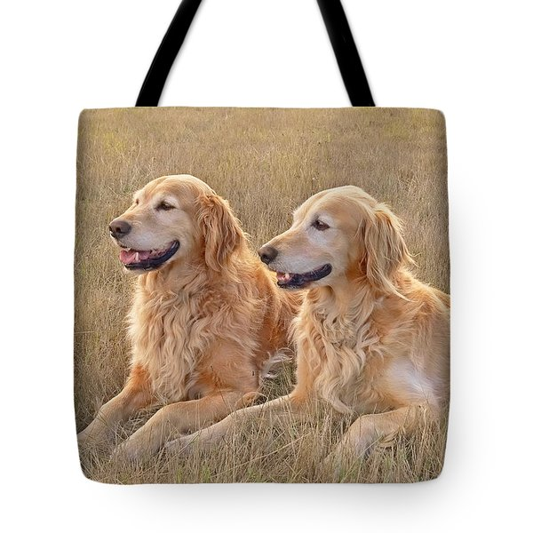Golden Retrievers In Golden Field Tote Bag
