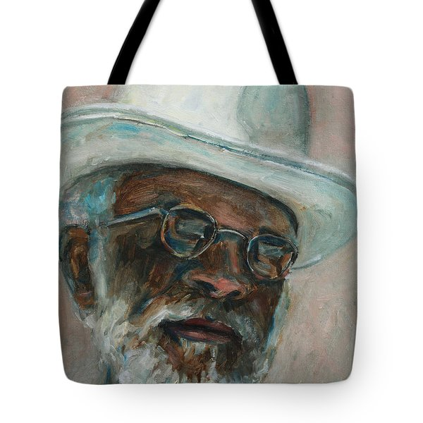 Gray Beard Under White Hat Tote Bag