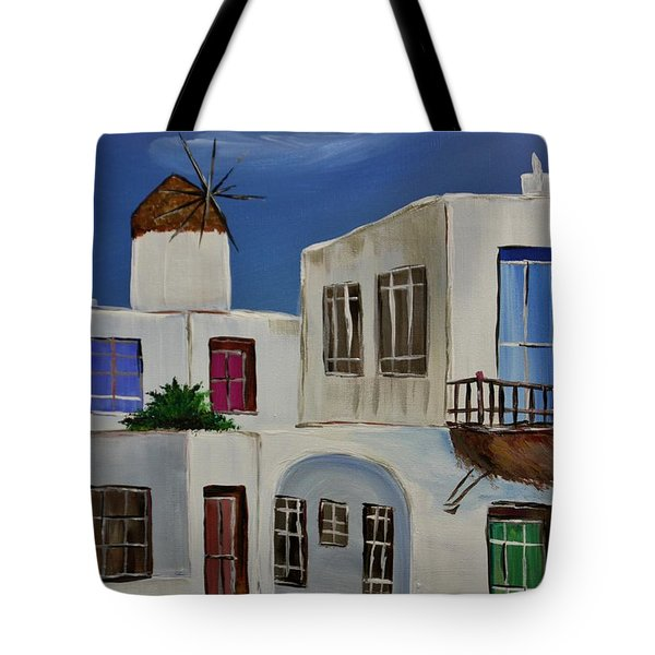 Tote Bag featuring the painting Greek Village by Janice Rae Pariza