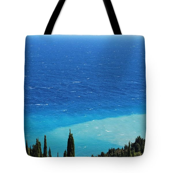 green and blue Erikousa Tote Bag