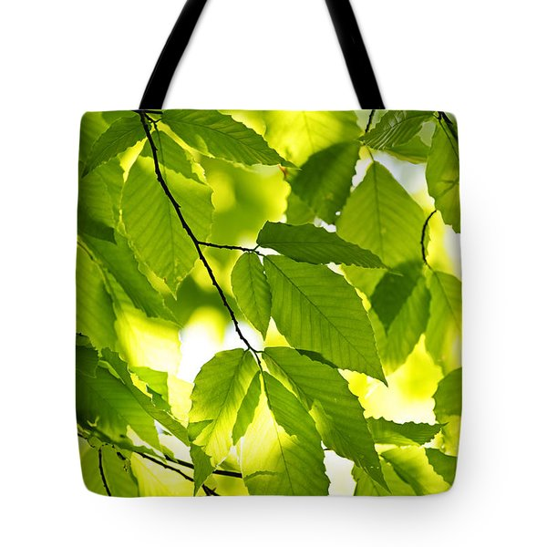 Green Spring Leaves Tote Bag