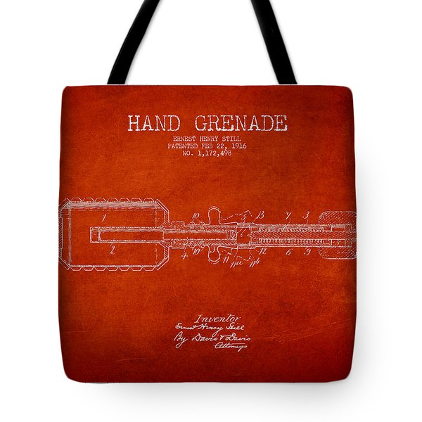 Hand Grenade Patent Drawing From 1916 Tote Bag by Aged Pixel