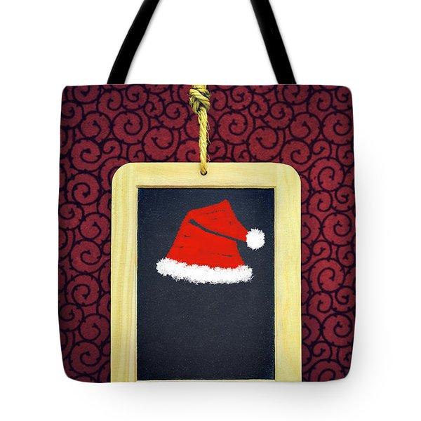Hanged Xmas Slate - Santa's Cap Tote Bag
