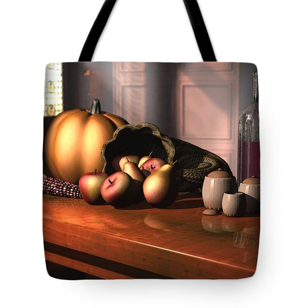 Tote Bag featuring the digital art Harvest Still Life by Jayne Wilson