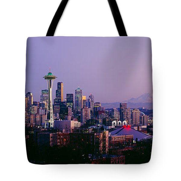 High Angle View Of A City At Sunrise Tote Bag by Panoramic Images