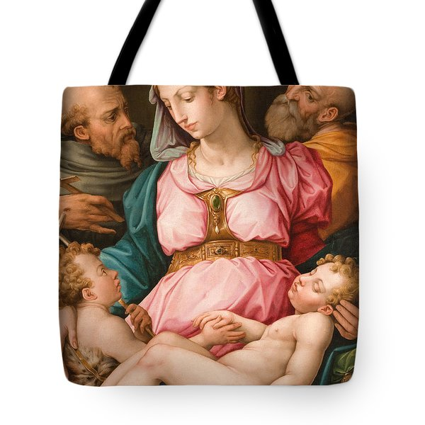 Holy Family With The Infant Saint John The Baptist And Saint Francis Tote Bag by Giorgio Vasari