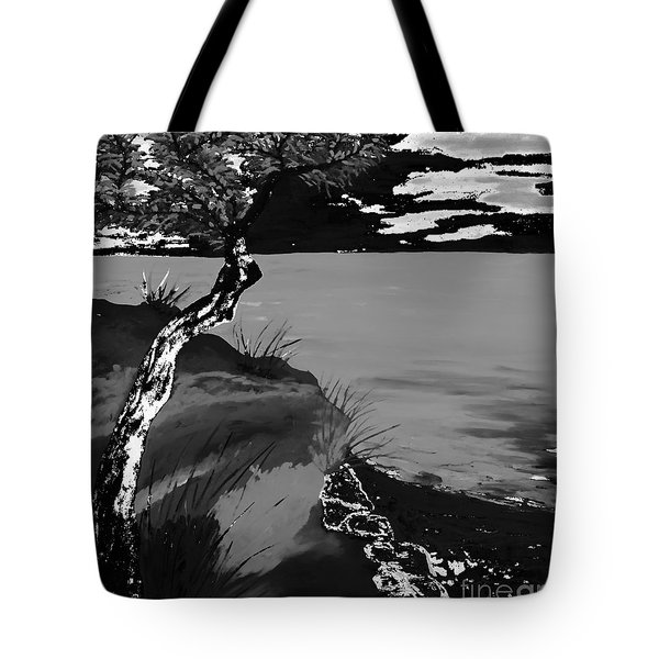 Horizon In Black And White Tote Bag