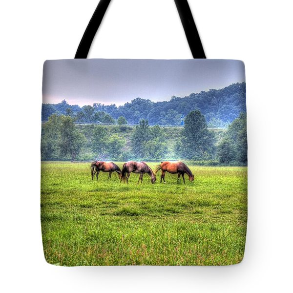 Horses In A Field Tote Bag