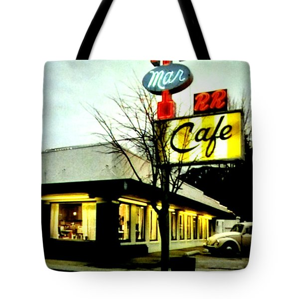 Tote Bag featuring the painting I Went For Breakfast At The Double R by Luis Ludzska