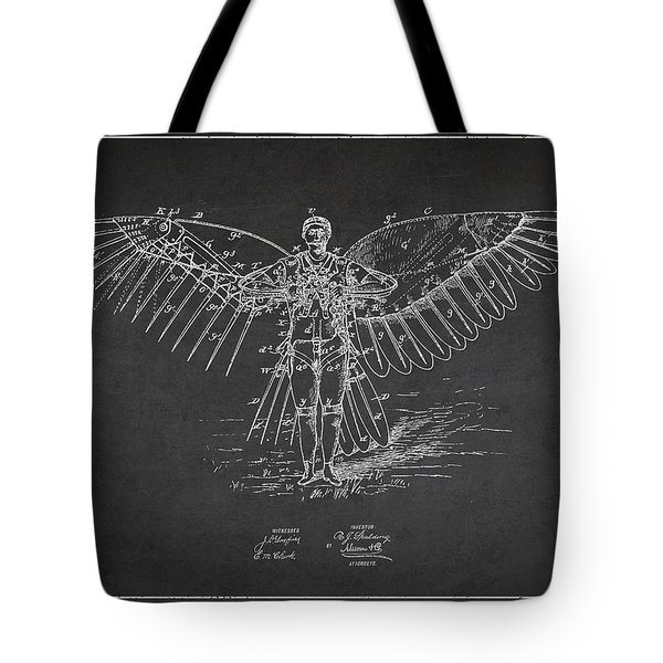 Icarus Flying Machine Patent Drawing Front View Tote Bag by Aged Pixel