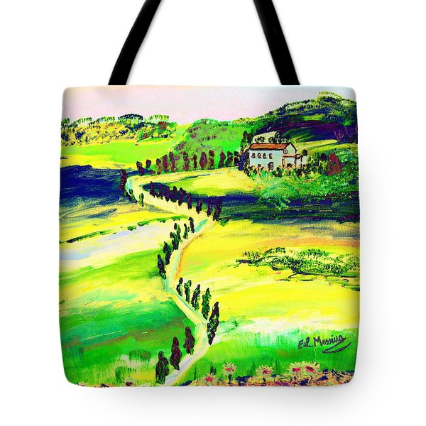 Tote Bag featuring the painting Il Casale by Loredana Messina