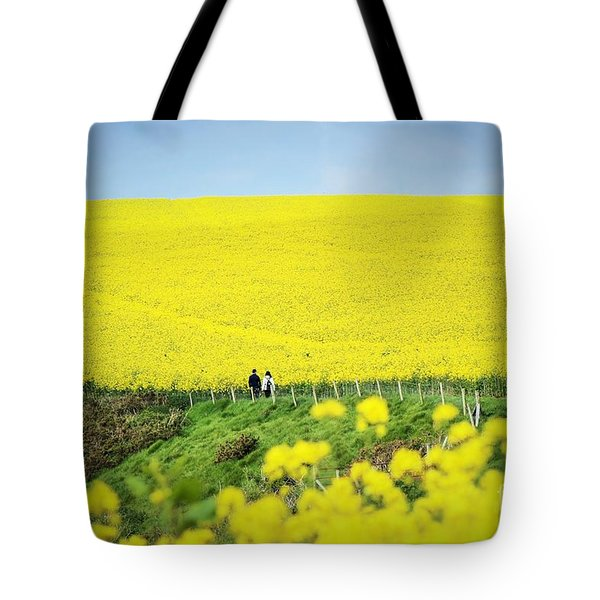 Rapeseed Field... Love Story Tote Bag