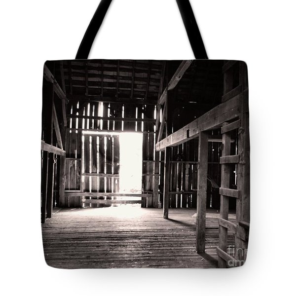 Tote Bag featuring the photograph Inside An Old Barn by John S