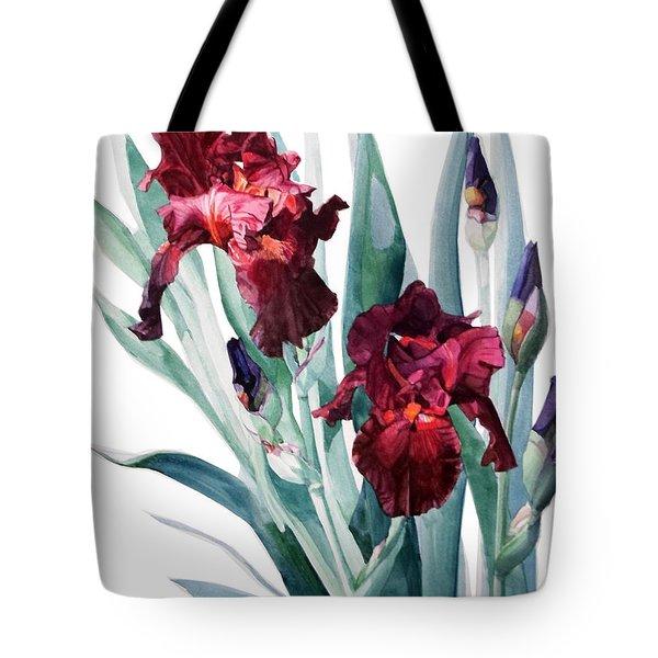 Dark Red Tall Bearded Iris Donatello Tote Bag