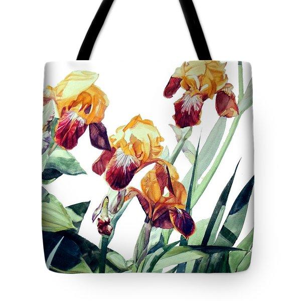 Watercolor Of Tall Bearded Irises I Call Iris La Vergine Degli Angeli Verdi Tote Bag