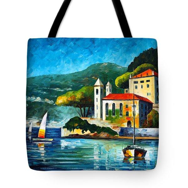Italy Lake Como Villa Balbianello Tote Bag by Leonid Afremov
