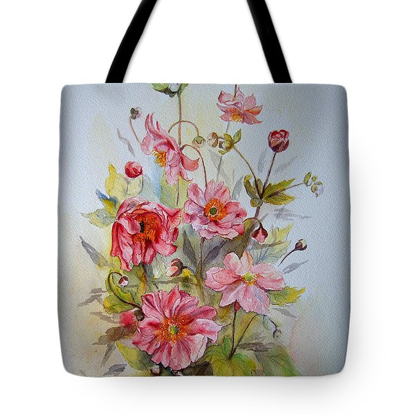 Tote Bag featuring the painting Japanese Anemones by Beatrice Cloake