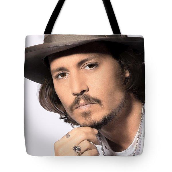 Tote Bag featuring the photograph Johnny Depp by Karon Melillo DeVega
